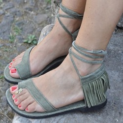 Shoespie Casual Lace-Up Toe Ring Fringe Flat Sandals