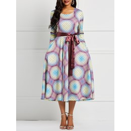 Half Sleeve Pullover Print Regular Women's Maxi Dress