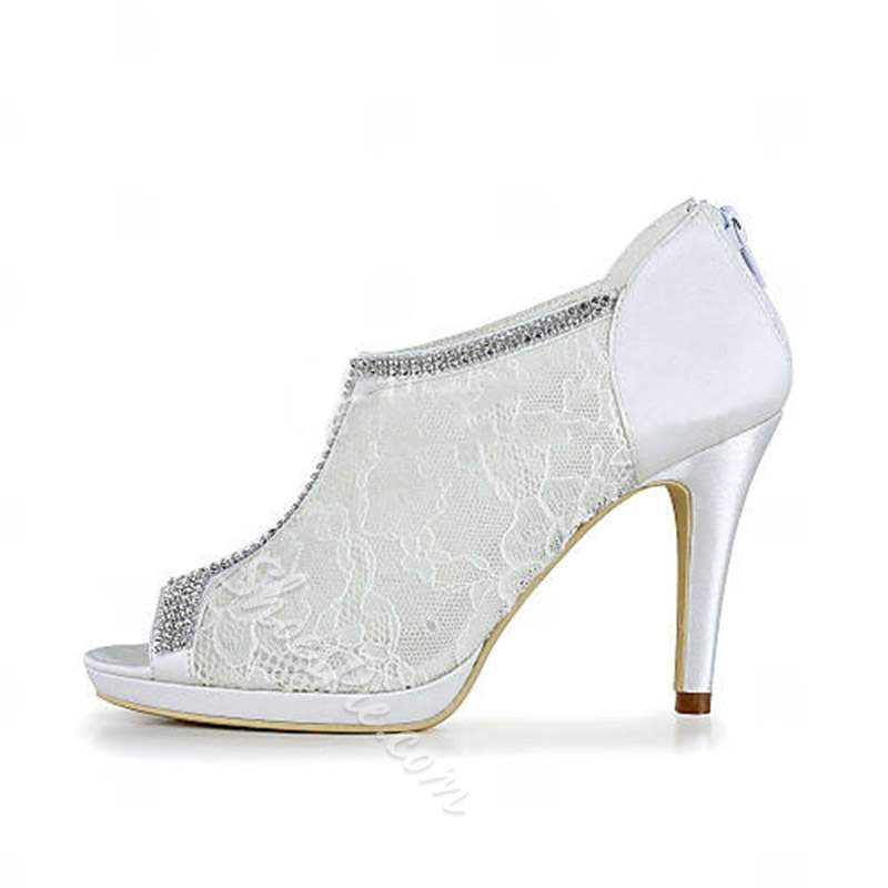 Shoespie White Peep Toe Lace Stiletto Heel Wedding Shoes