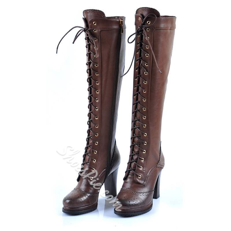 Shoespie Casual Cross Strap Side Zipper Knee High Boots