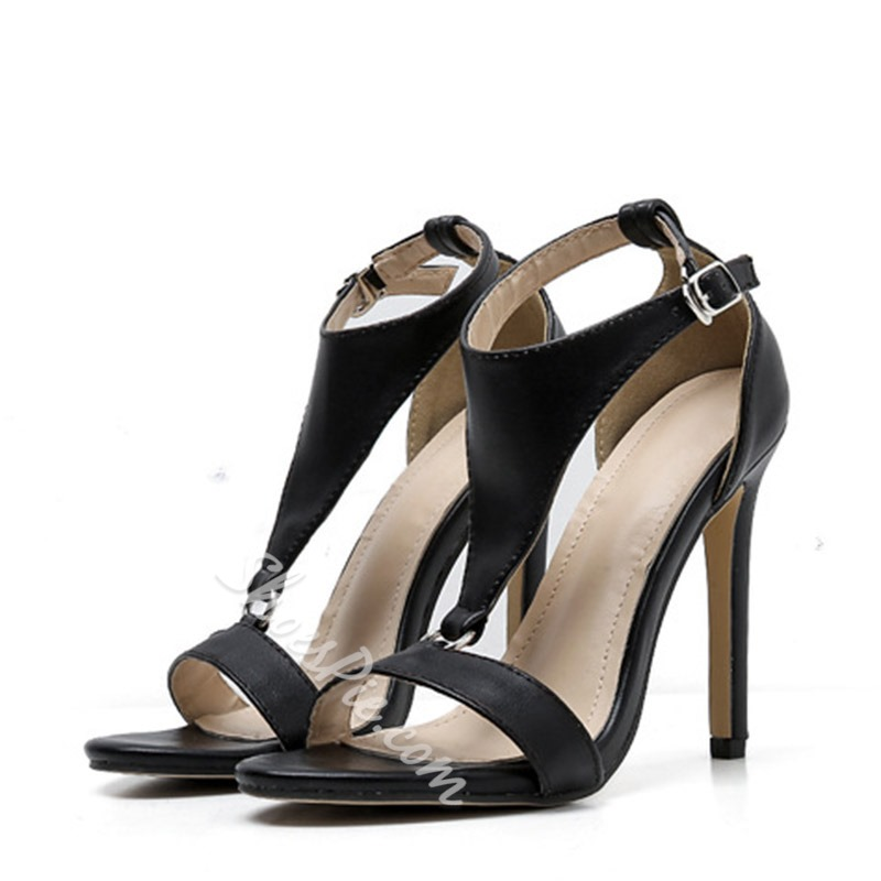 Shoespie Hasp Ankle Strap Stiletto Heel Dress Sandals