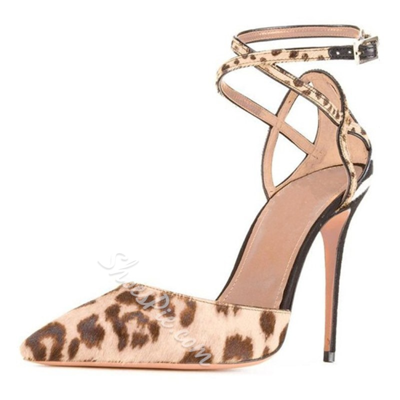 Shoespie Leopard Suede Buckle Stiletto Heel Dress Sandals