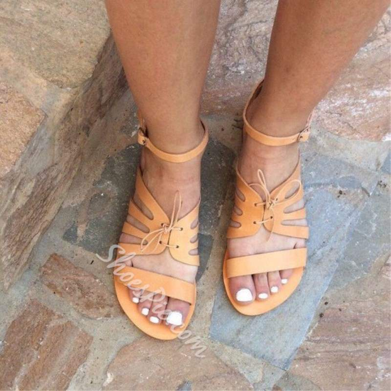 Shoespie Casual Lace-Up Line-Style Buckle Flat Sandals