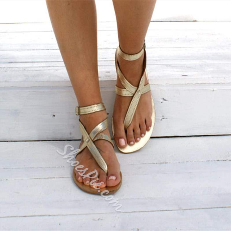 Shoespie Casual PU Thong Strappy Flat Sandals