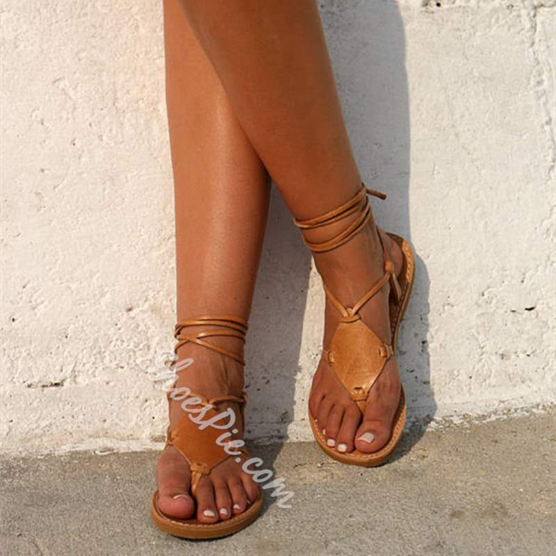 Shoespie Casual PU Thong Strappy Lace-Up Flat Sandals