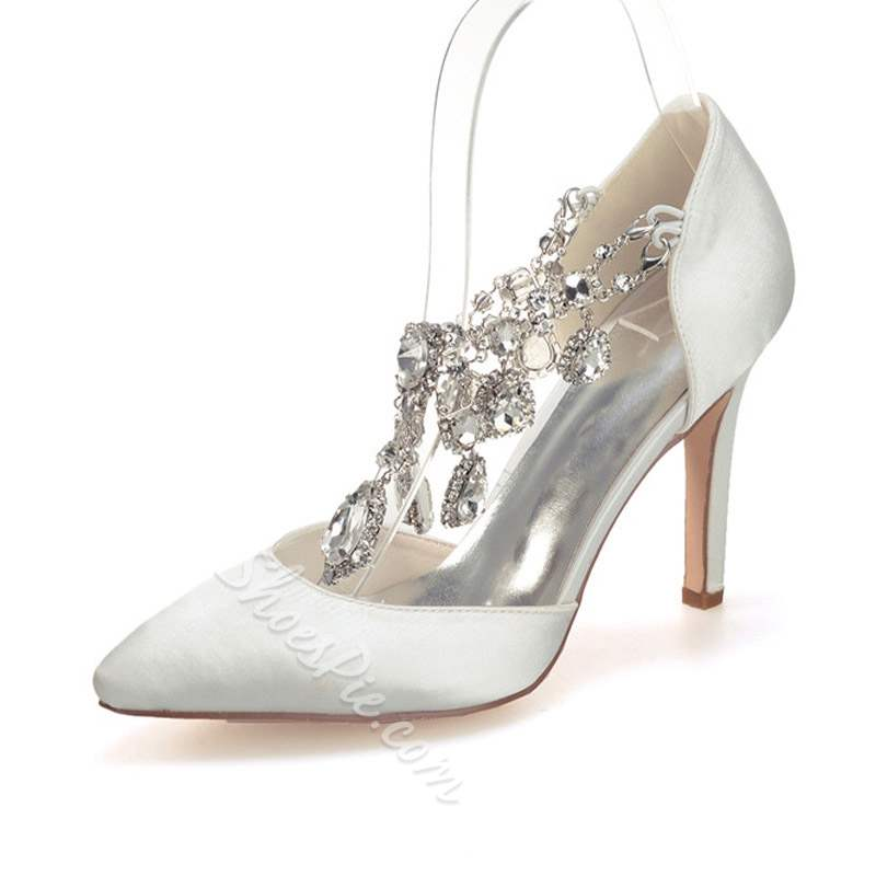 Stylish Stiletto Heel Slip-On Rhinestone Wedding Bridal Shoes