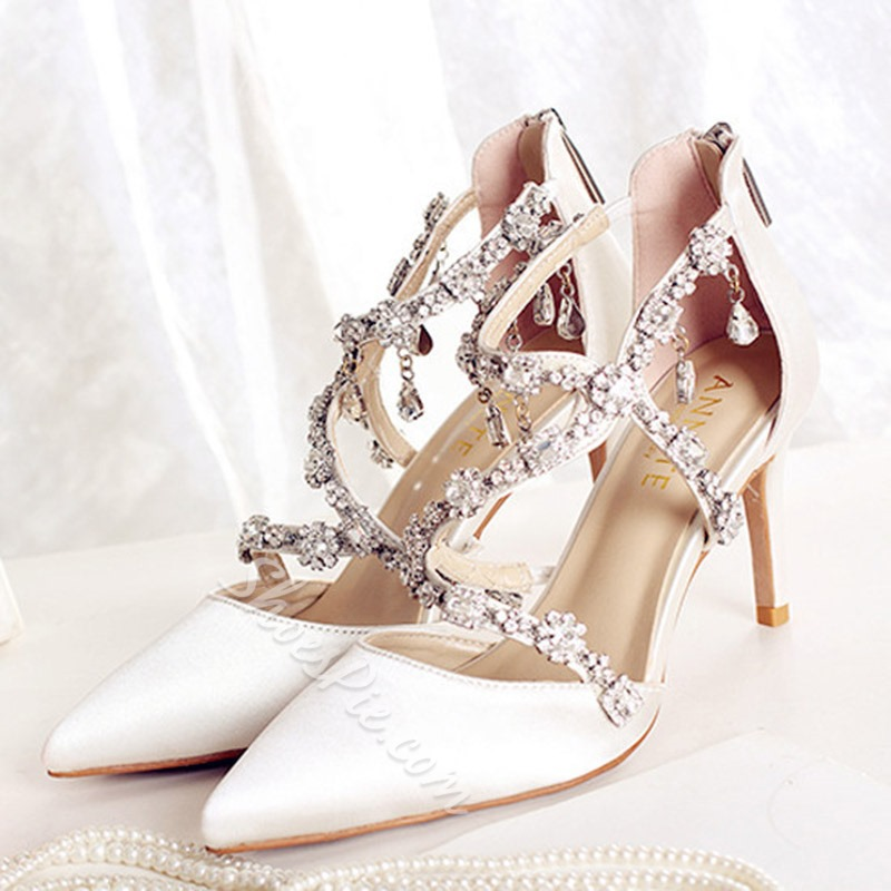 Shoespie Pointed Toe Rhinestone Stiletto Heel Wedding Shoes