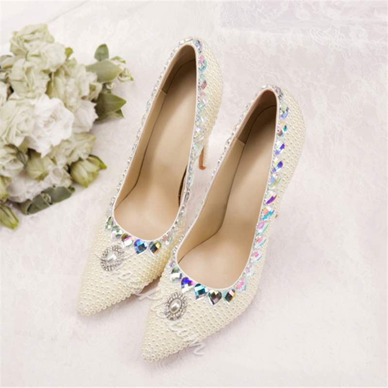 Shoespie White Rhinestone Slip-On Stiletto Heel Wedding Shoes