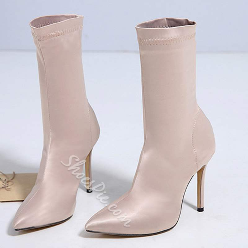Shoespie Plain Slip-On Stiletto Heel Ankle Boots