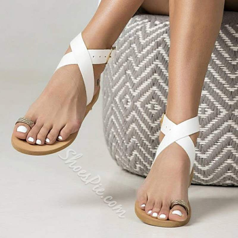 Shoespie Casual Toe Ring Buckle Ankle Strap Flat Sandals