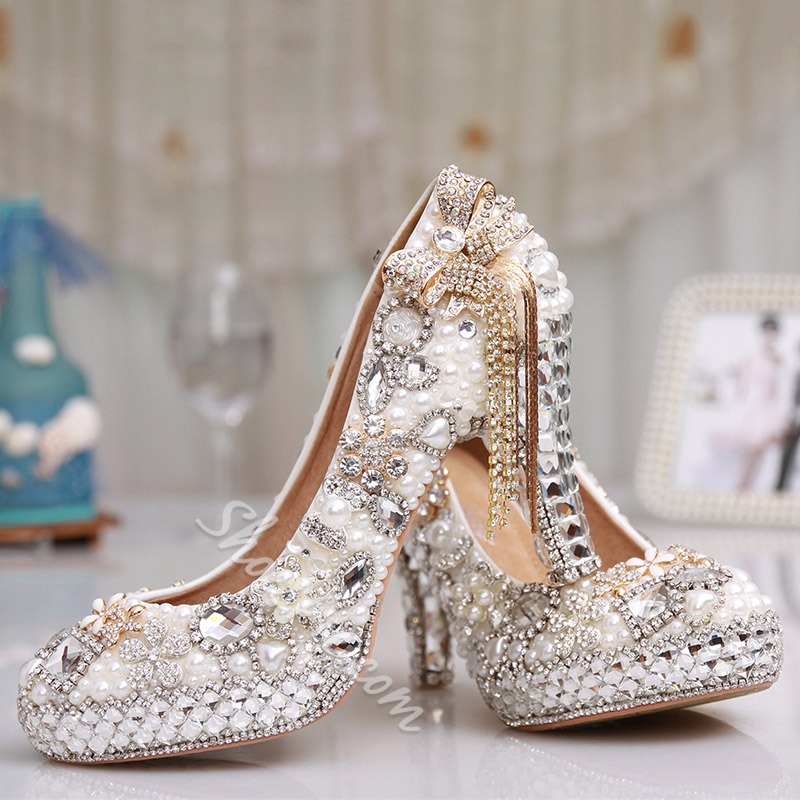 Shoespie Platform Rhinestone Beads High Heel Wedding Shoes