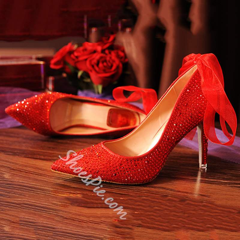 Shoespie Rhinestone Lace-Up Stiletto Heel Wedding Shoes