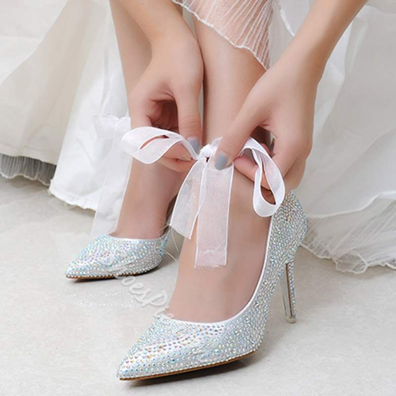 54cf194ceec Shoespie Rhinestone Lace-Up Stiletto Heel Wedding Shoes- Shoespie.com
