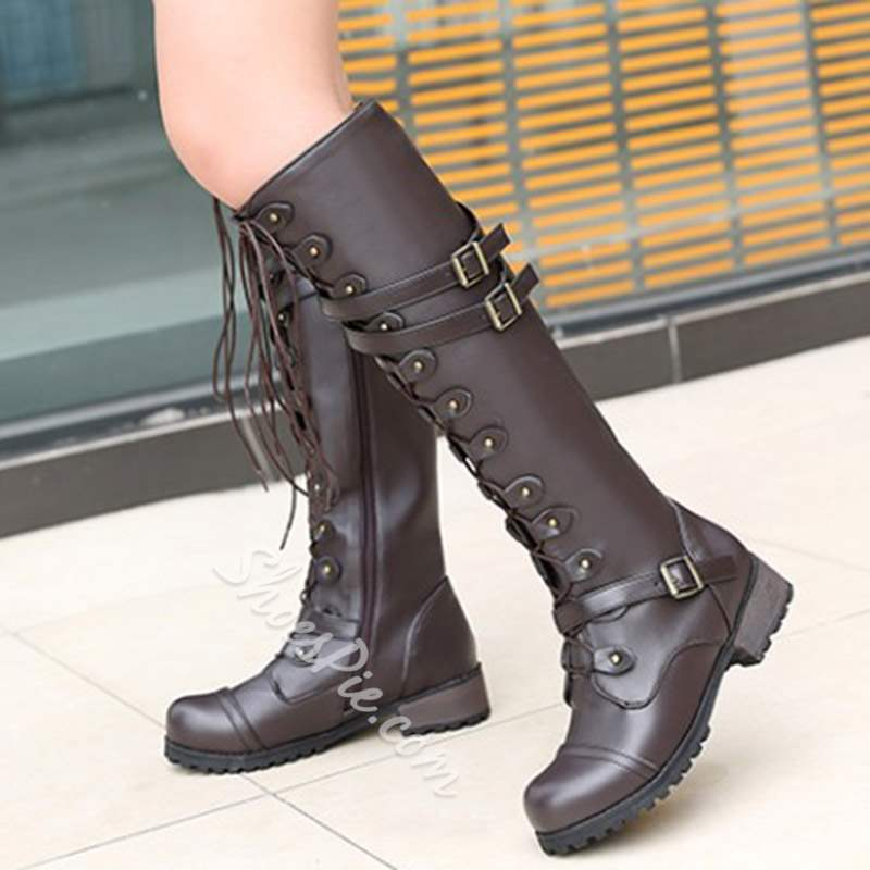Shoespie Cross Strap Buckle Side Zipper Knee High Boots