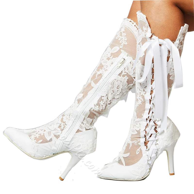 White Lace Cross Strap Stiletto Heel Wedding Boots
