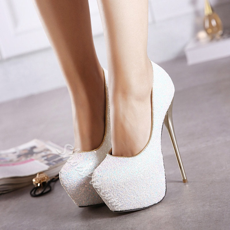 Shoespie Sexy Round Toe Sequin Platform Stiletto Heels