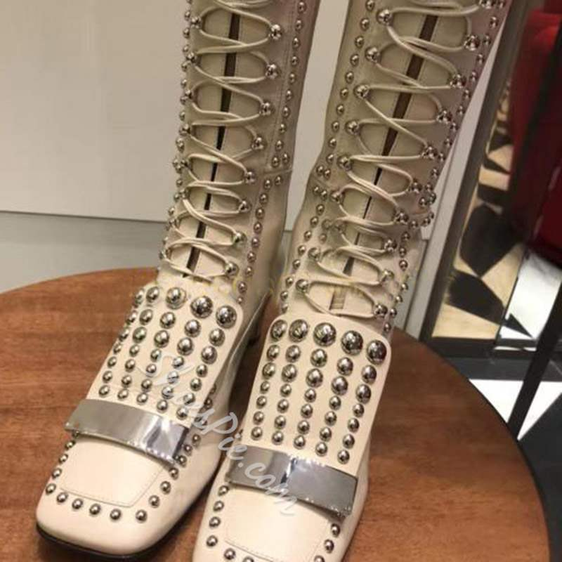 Shoespie Square Toe Rivet Lace-Up Thigh High Boots