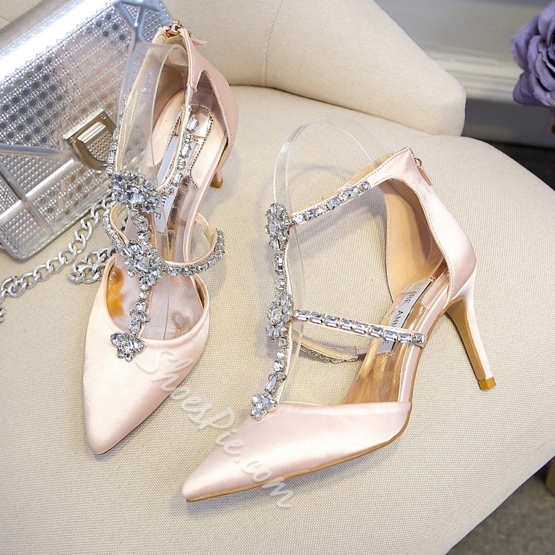 Shoespie Rhinestone Silk Fabric Stiletto Heel Wedding Shoes