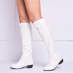 Shoespie Casual Plain Slip-On Flat Knee High Boots
