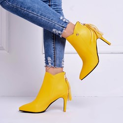 Shoespie Fringe Back Zip Stiletto Heel Ankle Boots