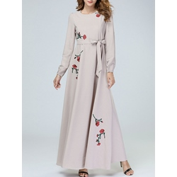 Embroidery Belt Floral Women's Maxi Dress