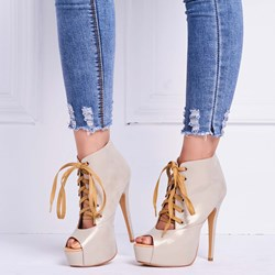 Shoespie Sliver Peep Toe Lace Up Platform Heels
