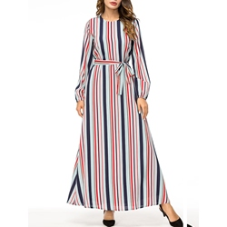 Travel Look Stripe Belt Women's Maxi Dress