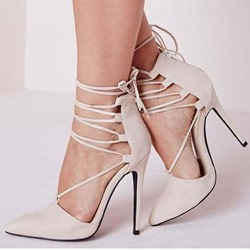 Shoespie Suede Lace-Up Zipper Stiletto Heels
