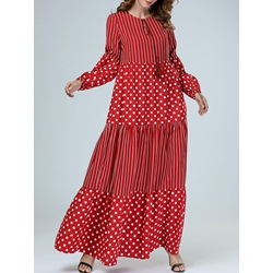 Polka Dots Stripe Tassel Women's Maxi Dress