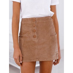 Plain Button Mini Skirt Neutral Women's Skirt