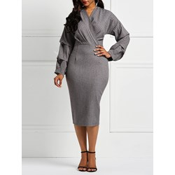 Long Sleeve V-Neck Patchwork Office Lady Women's Bodycon Dress