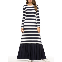 Long Sleeve Pleated Patchwork Women's Maxi Dress
