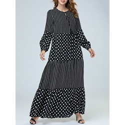 Polka Dots Stripe Fall Women's Maxi Dress