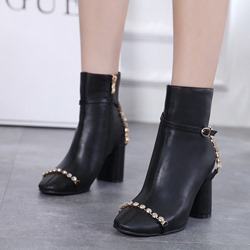 Shoespie Black Rhinestone Buckle High Heel Ankle Boots