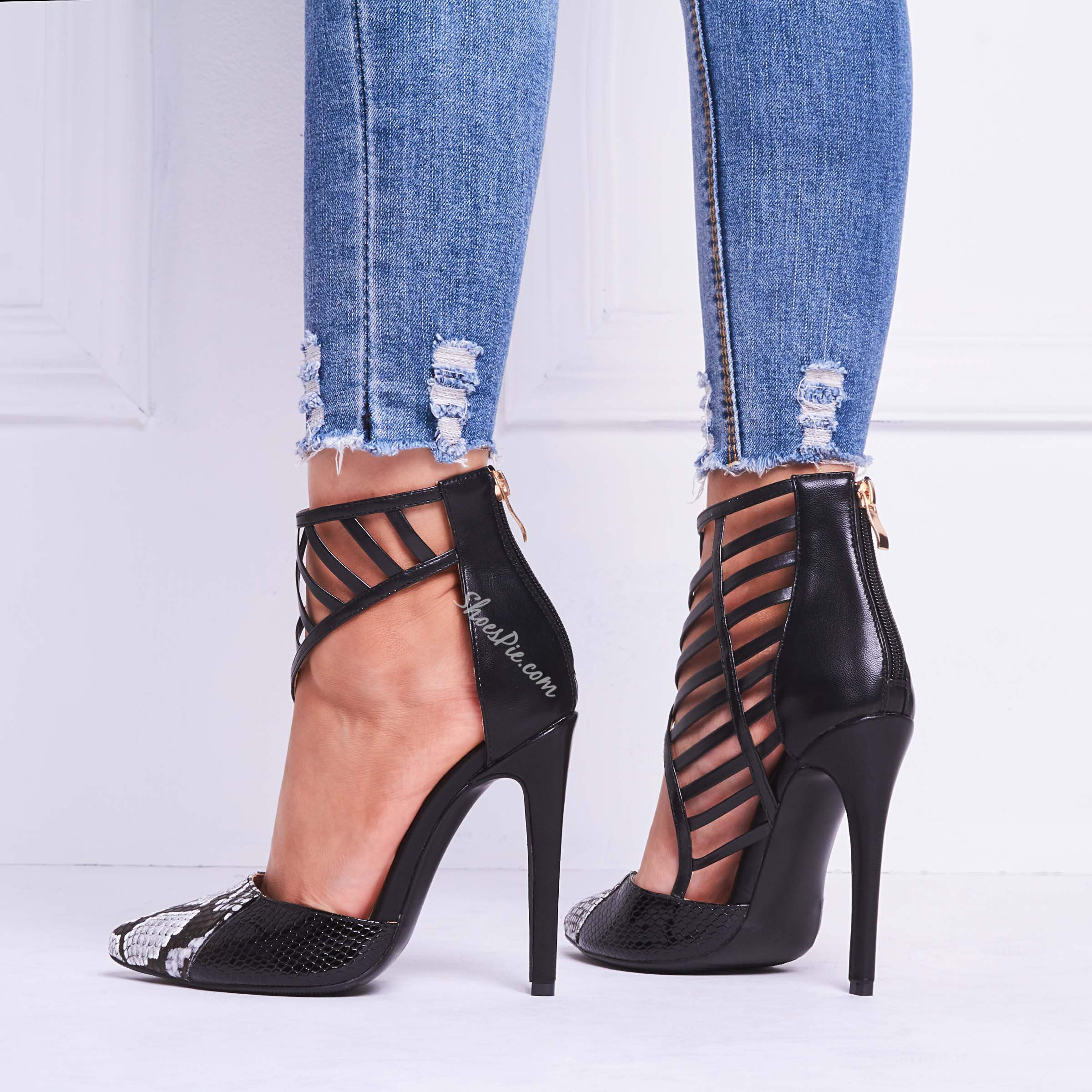 Shoespie Black Snakeskin Zipper Stiletto Heels