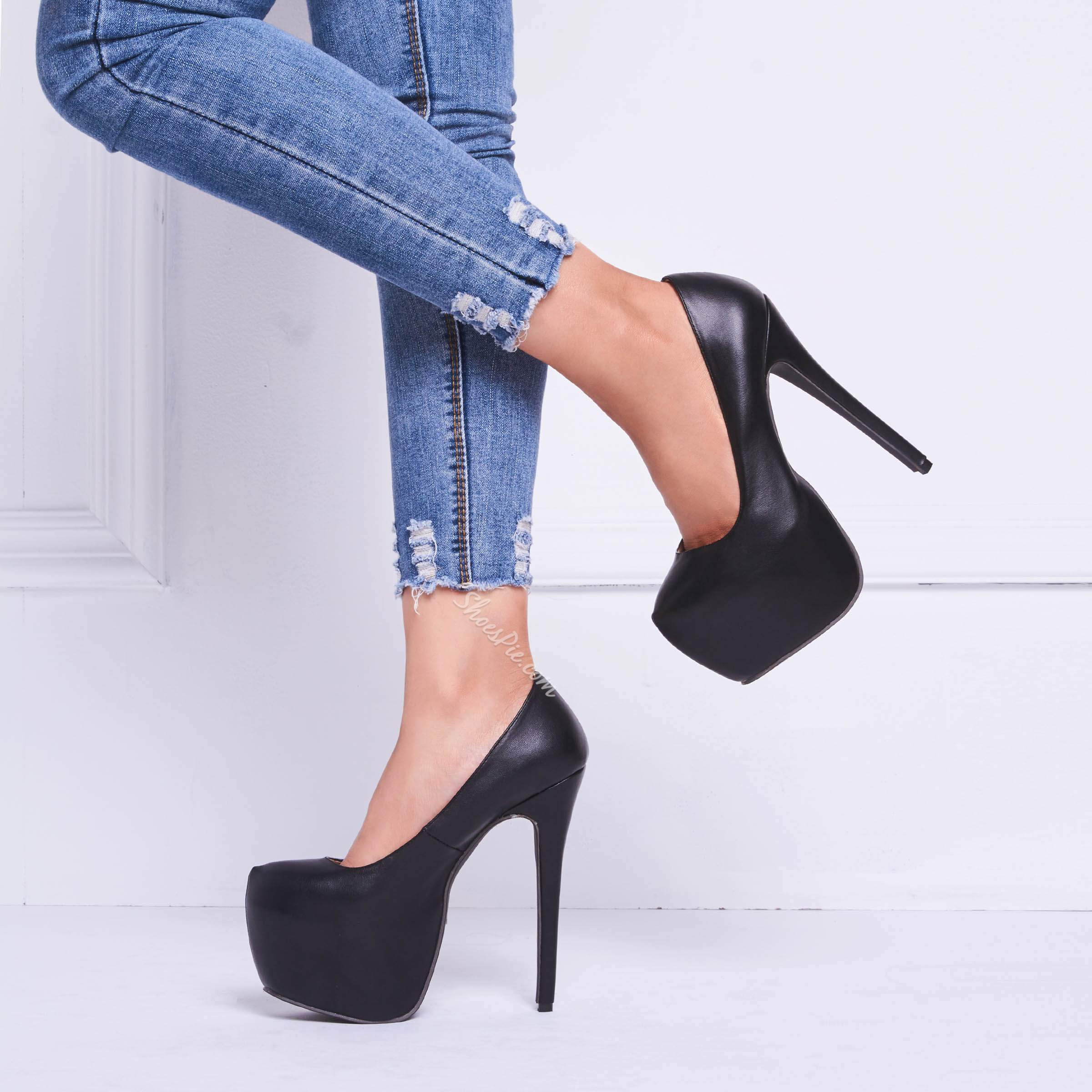 Shoespie Amazing Black Platform Heels