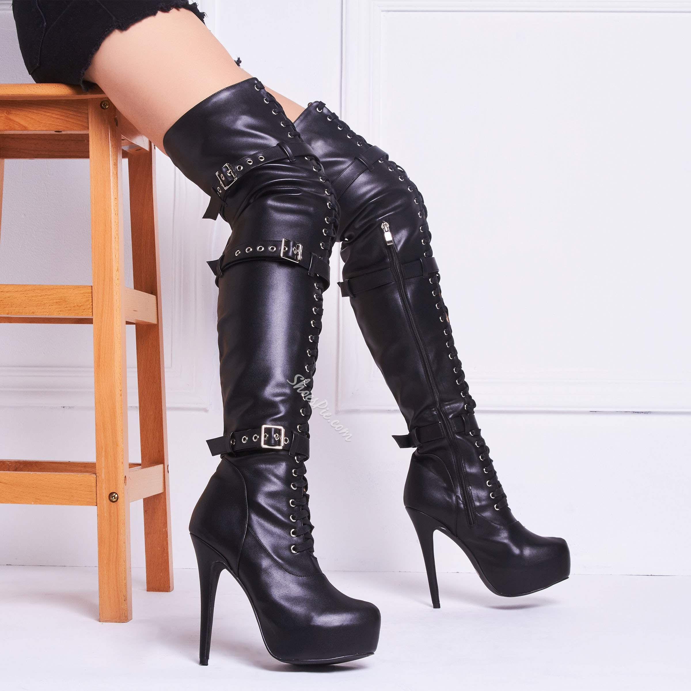 79514cef36 Shoespie Sexy Lace up Buckles Over Knee High Boots- Shoespie.com