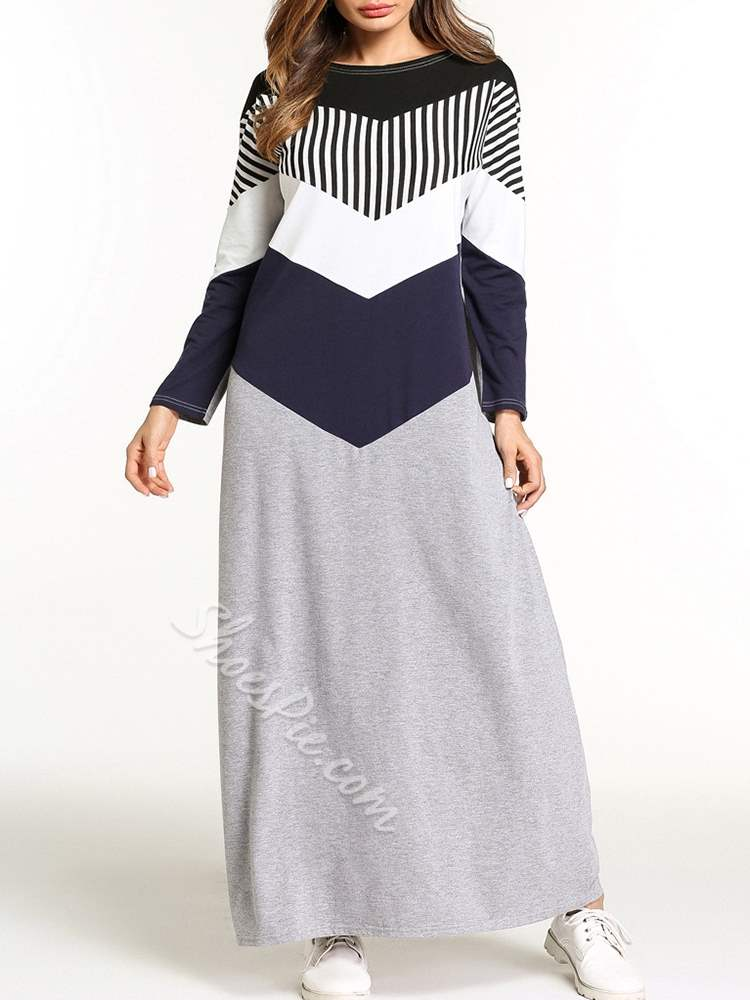 Color Block Fall Patchwork Women's A-Line Dress