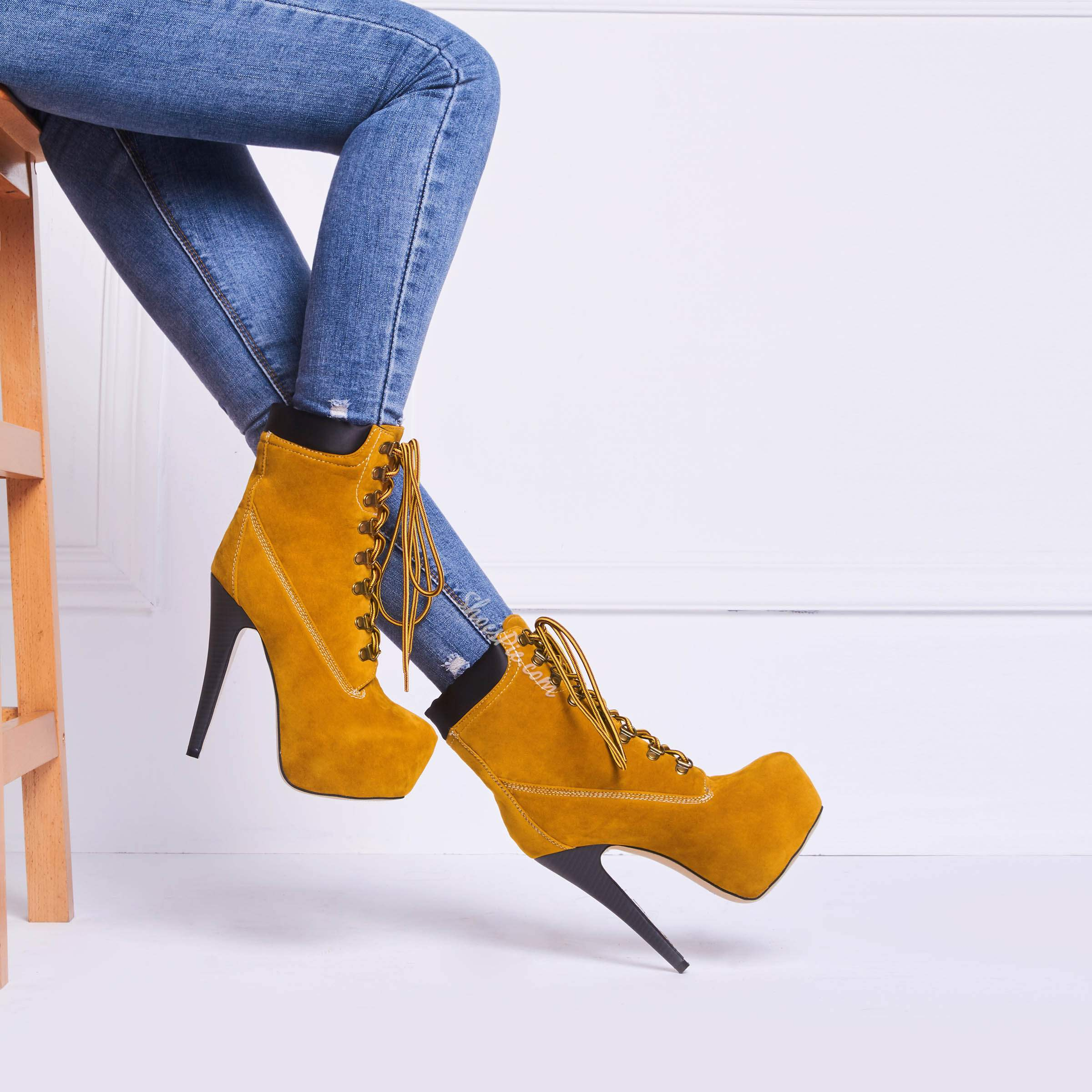 Amazing Platform Stiletto Heels Lace-up Ankle Boots