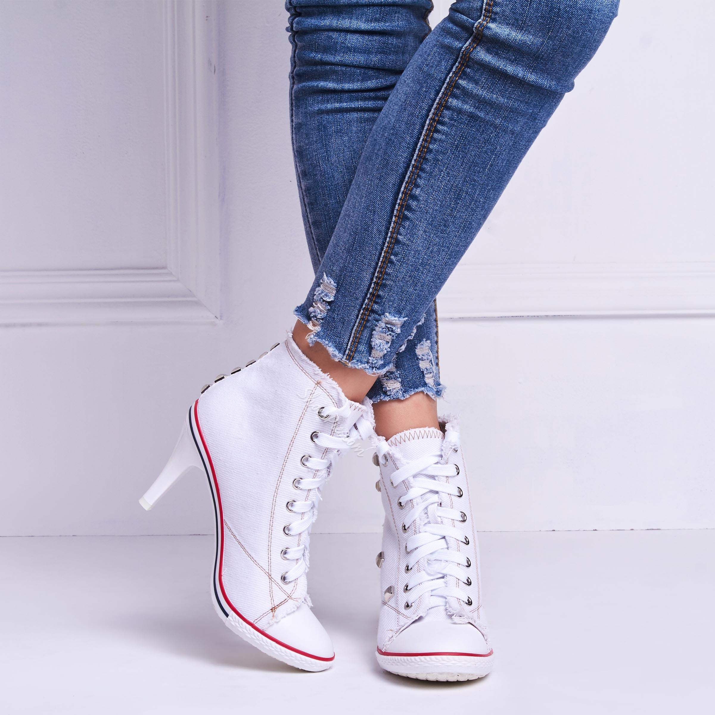 ShoespieCanvas Rivet Lace-Up Stiletto Heel Ankle Boots
