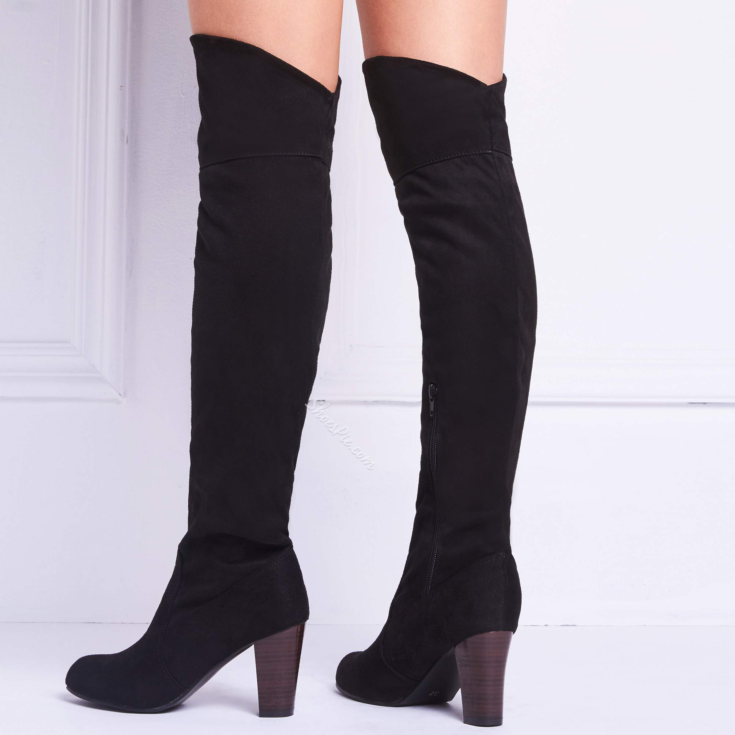 Shoespie Casual Suede High Heel Thigh High Boots