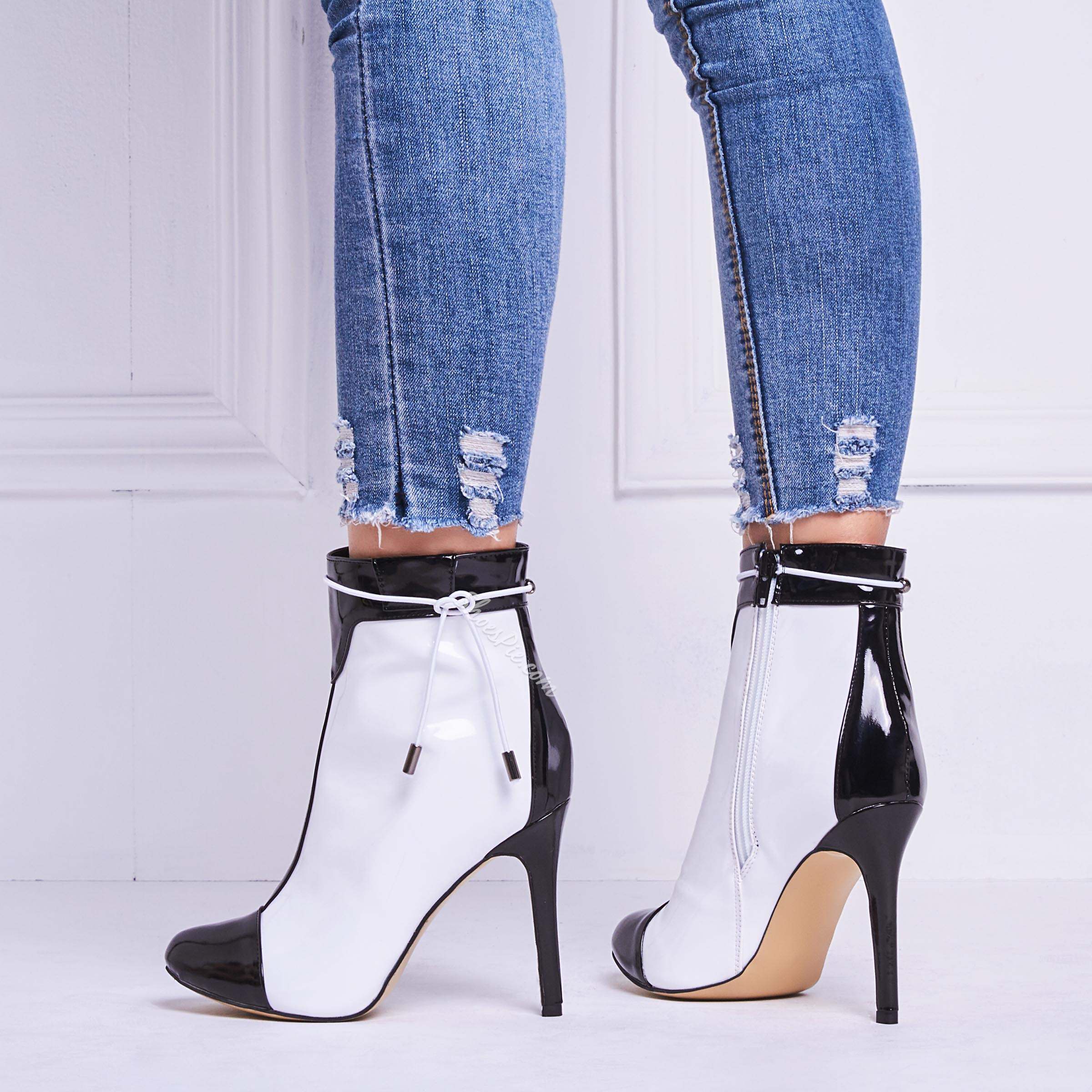 Shoespie Sexy Black & White High Heel Fashion Boots