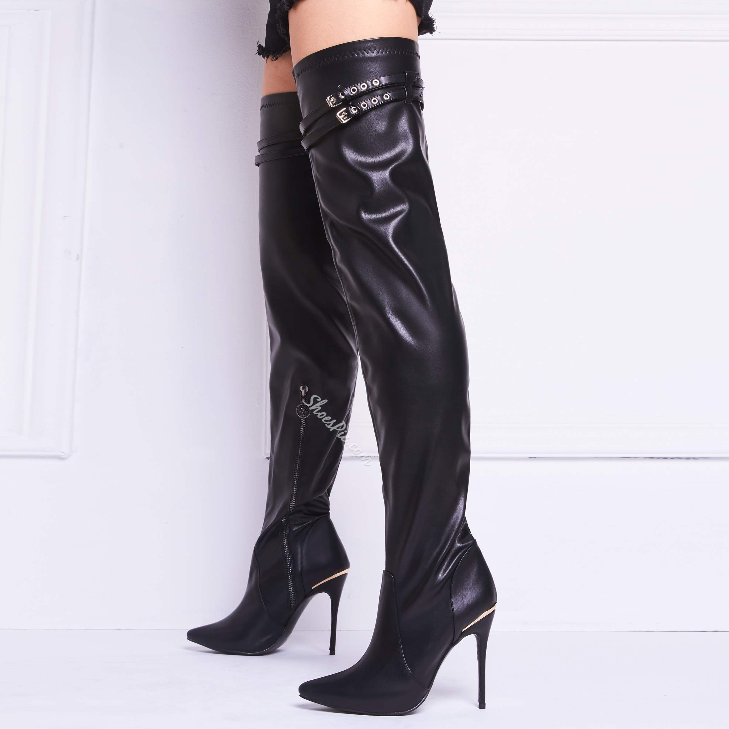 0d14a922b09 Shoespie Metal Decoration Zipper Over Knee High Boots