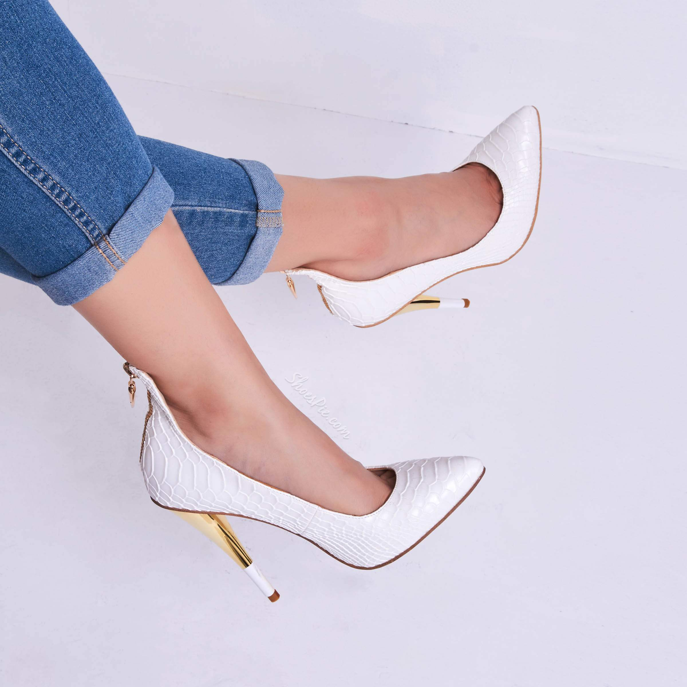 Shoespie White Alligator Pattern Zipper Cone Heel Banquet Stiletto Heels