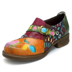 Shoespie Vintage Floral Splicing Pattern Buckle Leather Loafers