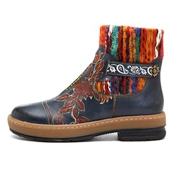 Shoespie Vintage Splicing Pattern Buckle Leather Ankle Boots