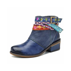 Vintage Blue Splicing Pattern Buckle Leather Ankle Boots