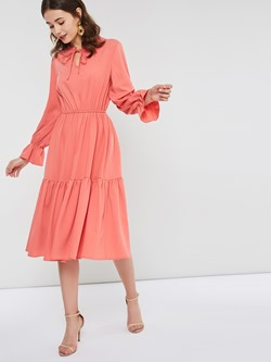 Stand Collar Pleated Knee-Length A-Line Women's Dress