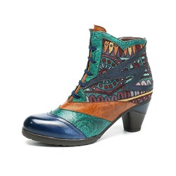 Shoespie Vintage Cross Strap Splicing Pattern Leather Ankle Boots