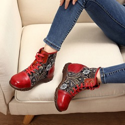 Shoespie Red Vintage Splicing Pattern Leather Ankle Boots